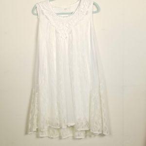 Sleeveless Lace Overlay Mini Dress